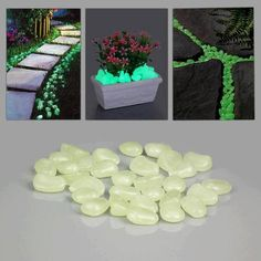 Glow in the Dark Stones accumulate the energy from any source of light: Sun, ultraviolet, lamp, flashlight, etc. It takes just a couple of minutes of charging to see the glowing effect. Luminous intensity of the product doesn't change over the years.
