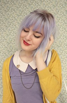 Lavender bob with bangs and roots