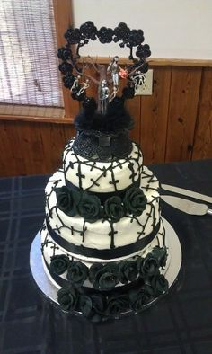 First Wedding cake I've made.... Nightmare Before Christmas Wedding cake
