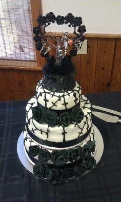 First Wedding cake I've made.... Nightmare Before Christmas Wedding cake