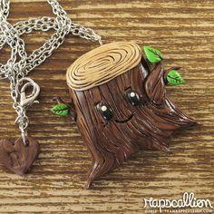 Kawaii Tree Stump Polymer Clay Necklace