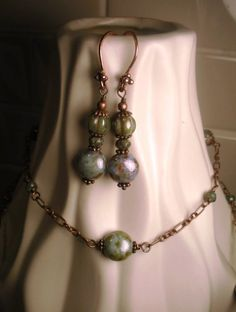 Green Brown Picasso Czech Glass and Antique Copper earrings by TwinFlameDesigns, $15.74