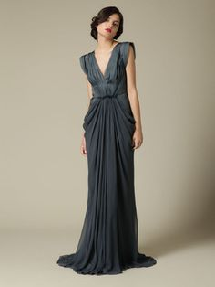 SILK HAND PLEATED GOWN