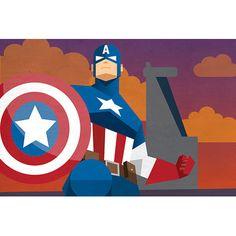 "East Urban Home Marvel Comics Geometric Avengers Captain America Graphic Art on Canvas Size: 26"" H x 40"" W x 1.5"" D"