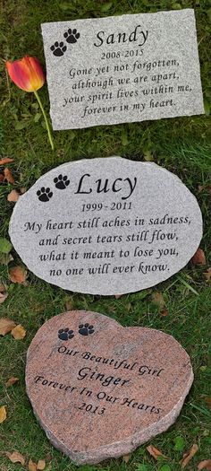 Custom Engraved Pet Memorial. Honor your beloved pet with a granite memorial stone. Hand-chiseled with natural, uneven edges. Perfect for dogs or cats.