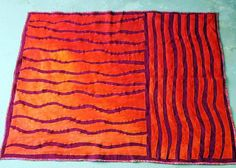 Sofa Throw Blanket Bright Orange Red Fusch / Upcycled Recycled Wool Blanket by TexturesGallery, $275.00 USD