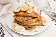 Coconut Cake Pancakes with Maple-Glazed Bananas