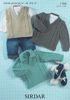 Sweaters and Slipover in Sirdar Snuggly 4 ply 50g - 1769 - Downloadable PDF. Discover more patterns by Sirdar at LoveKnitting. The world's largest range of knitting supplies - we stock patterns, yarn, needles and books from all of your favourite brands.