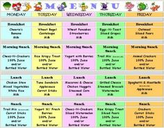daycare sample lunch menus | Our Month of Childcare Menus