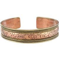 Nepali Hand-Carved Copper Cuff Bracelet, $6 on SALE | The Hunger Site Copper with brass edging Adjustable 6.75 around (17 cm) from tip to tip Handmade in and fairly traded from Nepal