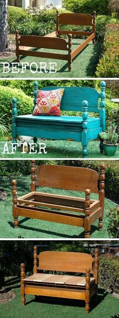 Diy bench - Old furniture Transformation 10 Amazing DIY Furniture Transformations Oldfurniture Transformation Old Furniture, Refurbished Furniture, Repurposed Furniture, Furniture Projects, Furniture Makeover, Home Projects, Outdoor Furniture, Garden Furniture, Decoupage Furniture