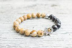 Hasper stone and black onyx beaded stretchy silver Hamsa hand bracelet, custom made yoga bracelet, mens bracelet, womens #bracelet