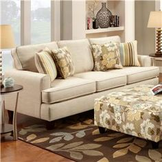 Marlo Ivory Contemporary Sofa with Small Track Arms by Fusion Furniture at Belfort Furniture