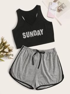 Shop Letter Print Racerback PJ Set at ROMWE, discover more fashion styles online. Cute Lazy Outfits, Swag Outfits For Girls, Girls Fashion Clothes, Teen Fashion Outfits, Edgy Outfits, Girl Outfits, Cute Pajama Sets, Cute Pajamas, Pj Sets