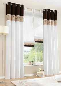 2x140x225cm Sheer Curtain Window Curtains eyelet Voile 3 splicing coffe color $36