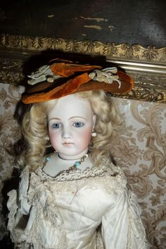 Wonderful small size antique doll bonnet for french fashion or small from antique dolls on Ruby Lane