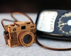 Wooden old film Camera necklace