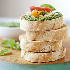 Pesto and Tomato Bruschetta -- This healthy appetizer will be a knock out for your next cocktail party.  For today's healthy lifestyle, choose Old London.  oldlondonfoods.com #bruschetta #pesto #tomato #recipe