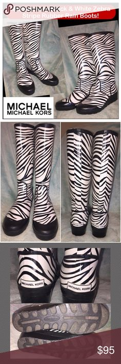 """Michael Kors Blk & White Zebra Stripe Rain Boots! Michael Kors Black & White Zebra Stripe Rubber Rain Boots! 100% authentic, weatherproof design, flexible neoprene shaft, textile rubber sole, wedge heel, slips on with soft lining. Sz 9M. Measures 15 1/3"""" around calf & 15"""" tall. Some very minor exterior marks. EX condition. Offers welcomed. Michael Kors Shoes Winter & Rain Boots"""