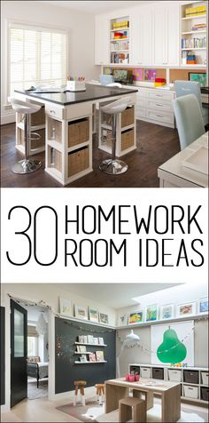 30 Homework Room Ideas - love this idea for a small room in the house! Great place to do homework, crafts, read, etc!!