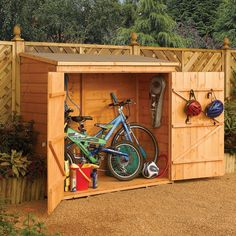 The Wall Store Wood Storage Shed is the ideal outdoor storage solution for items such as bikes, outdoor toys, pool equipment and garden tools. With easy access from the over 5-foot wide double door opening, the Wall Store is both functional and practical.