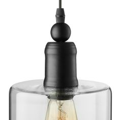 LED Mini-Pendant Light with Cylindrical Shade in Clear Glass, Fashion Style Industrial Lighting Plug In Pendant Light, Mini Pendant Lights, Pendant Lighting, Industrial Lighting, Light Led, Clear Glass, Perfume Bottles, Bulb, Pendants