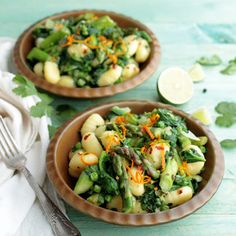 One-Pot Asparagus and Spinach Gnocchi