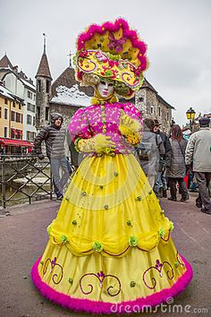 Annecy, France. Participants with eleborate costume at the Annual Carnival Venitien d' Annecy . The Annecy Venitien festival was held from 23 and 24 February 2013. Picture was taken on 23rd February 2013