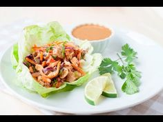 Slow Cooker Thai Chicken Lettuce Cups with Peanut Sauce - Laura Fuentes