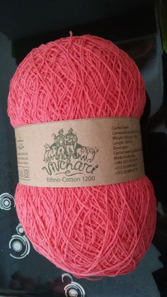 Ethno Cotton Cotton linen blend yarn made in Ukraine 200 gr 1200m coral by KnittingSail on Etsy