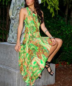 Look at this #zulilyfind! Lime & Yellow Peacock Asymmetrical Dress by La Moda Clothing #zulilyfinds