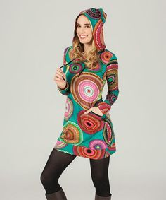 Love this Turquoise & Red Medallion Hooded Sweater Dress on #zulily! #zulilyfinds