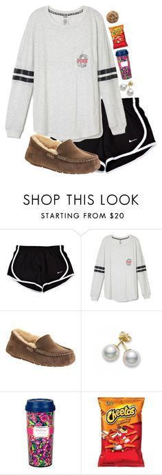 """""""For when I get home """" by madelyn-abigail ❤ liked on Polyvore featuring UGG Australia and Mikimoto"""