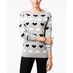 Charter Club Petite Heart-Print Sweater, ($30) ❤ liked on Polyvore featuring tops, sweaters, heather hearts, charter club tops, heart print top, mixed print top, white top and print top