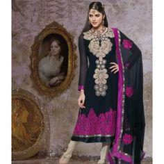 Black and Cream color Georgette churidhar kurta