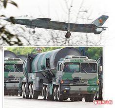 中共解放軍殲-20匿蹤戰機(上圖)和東風-31A戰略飛彈(下圖),皆為現役的主力作戰裝備。 翻攝青島新聞網