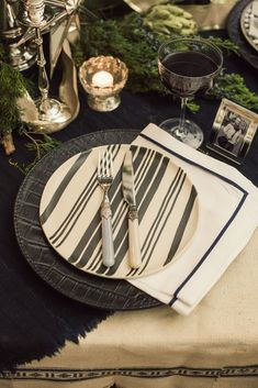 Celebrate the holidays with the Ralph Lauren Home Wythe Collection, handmade in Italy and hand-painted with a bold striped design so each piece is unique.