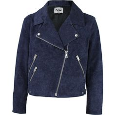 ACNE JEANS Rita Double Breasted Leather Jacket ($1,600) ❤ liked on Polyvore featuring outerwear, jackets, coats, blue jackets, double breasted jacket, leather jacket, genuine leather jacket and sports jacket