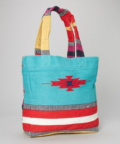 Another great find on #zulily! Turquoise Tribal Carpet Tote #zulilyfinds