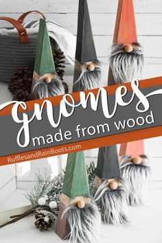 DIY Wood Block Gnomes You Can Make In Minutes! I can't wait to make these wood block gnomes! This gnome tutorial is so easy--I could probably have them done. Click through to get the easy pattern to make these gnomes in minutes! Christmas Gnome, Christmas Wood, Christmas Projects, All Things Christmas, Holiday Crafts, Diy Xmas Gifts, Christmas Crafts To Sell, Christmas Signs, Gnome Tutorial