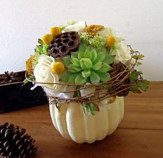 pumpkin floral arrangements | Thanksgiving Centerpiece White Pumpkin Autumn Floral Arrangement