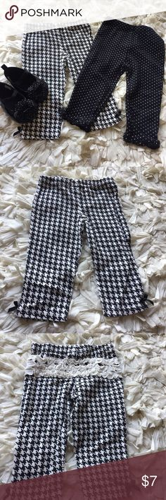 Black and white pants Perfect pants for making tons of outfits, a wardrobe must have for your little girl!! Black and white geometric prints are size 9-12 months by chick pea and have ruffles on the behind. Black and white polka dots are size 6-12 months by carters. Shoes are available in separate listing! Carter's Bottoms Leggings