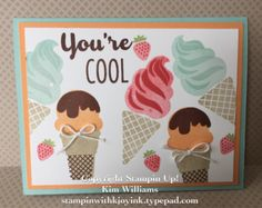 Stampin Up Cool Treats. New Occasions Catalog. Kim Williams, stampin with kjoyink. Pink Pineapple Paper Crafts. Frozen Treats dies and Tasty Treats designer paper. Cool crafts and easy card ideas. New Stampin Up Spring Catalog 2017