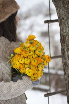 Winter in Yellow Girls With Flowers, Love Flowers, White Flowers, Flower Girls, Winter Colors, Winter Theme, Winter Jasmine, Animated Love Images, Seasons Of The Year