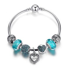 Silver Plated Heart Pendant Bracelets with Blue Beads