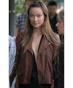 OLIVIA WILDE TROUBADOUR BROWN Stylish LEATHER JACKET