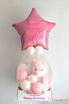 Pink Teddy in a stuffed balloon Balloon Box, Balloon Gift, Balloon Ideas, Girl Birthday, Birthday Gifts, Happy Birthday, Baby Shower Balloons, Birthday Balloons, Stuffed Balloons