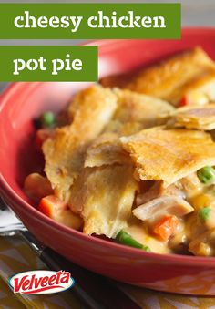"Easy Cheesy Chicken Pot Pie – With words like ""easy"" and ""cheesy"" in the name, what's not to like about this delicious VELVEETA recipe?"