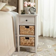 Safavieh Everly Vintage Grey Drawer Storage Side Table