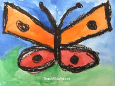 Butterfly with Watercolor and Oil Pastel Resist
